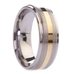 Carbide Rings Wedding Bands Gold Plated Stripe on Raised Brushed