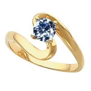 14K Yellow/White Gold Ring with Blue Diamond 1/2 carat Brilliant cut