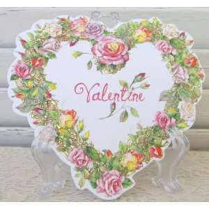 Carol Wilson Valentines Day Card, Rose Wreath Heart