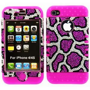 Phone Hard Cover Faceplate Skin Pink Silicone + Crystal Rhinestone