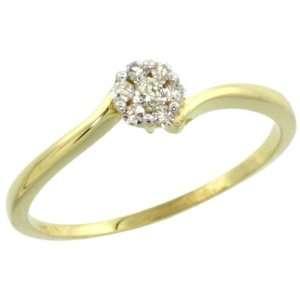 14k Gold Flower Cluster Diamond Engagement Ring w/ 0.12