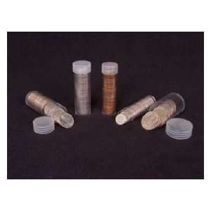 Coin Storage Tubes, Round Clear Plastic w/ Screw on Tops for Quarter