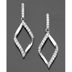 14k White Gold Diamond Flame Drop Earrings (1/4 ct. t.w.) Jewelry