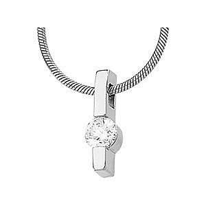 Beautiful 14k White Gold Diamond Solitaire Pendant With a