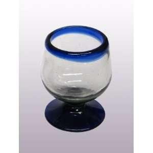 Cobalt Blue Rim small cognac glasses (set of 6) Kitchen