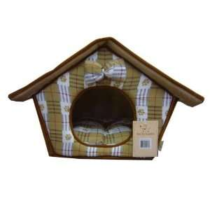 Best Pet Dog House Bed Beige Checkers Pattern Size 18 in x