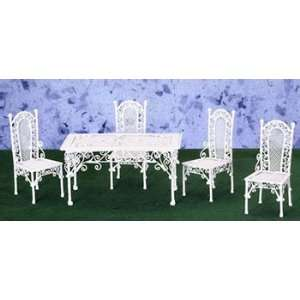 Dollhouse Miniature White Wire Table with Four Chairs