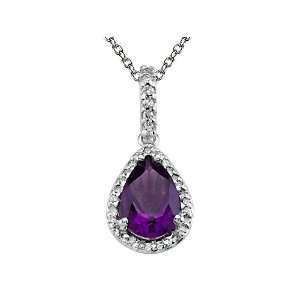 cttw Genuine Amethyst Pendant by Effy Collection® in 14 kt White Gold