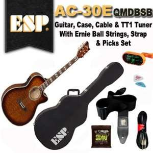 ESP AC 30E QMDBSB Acoustic Electric Guitar, Case, Tuner