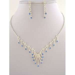 Fashion Jewelry ~ Clear and Sapphire Blue Crystals Necklace and
