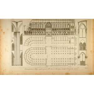 1845 Engraving Notre Dame Cathedral Paris Floor Plan   Original Copper