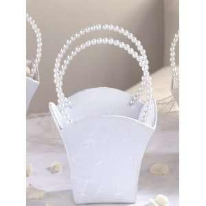 Elegant White Satin Flower Girl Basket with Pearl Handles