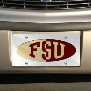 State Seminoles (FSU) Silver Half & Half Mirrored License Plate