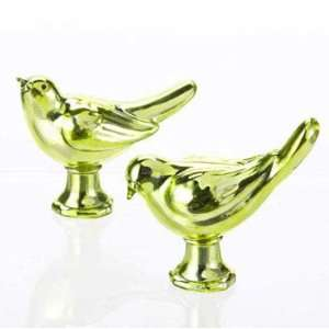 Set of 2 Apple Green Glass Bird Statues or Figures