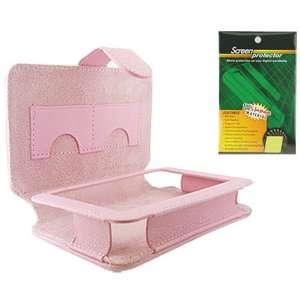 Skque Garmin 200w Pink Leather Case Cover + Screen Protector Bundle