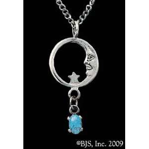 Moon Star Necklace, Sterling Silver, Turquoise set gemstone, Moon Star