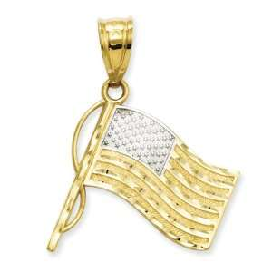 14k Gold & Rhodium God Bless America Flag Pendant Jewelry
