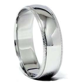 Milgrain Wedding Band 14K White Gold Jewelry