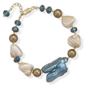 and Bronze Pearl 14K Yellow Gold Filled Bracelet Adjustable Length