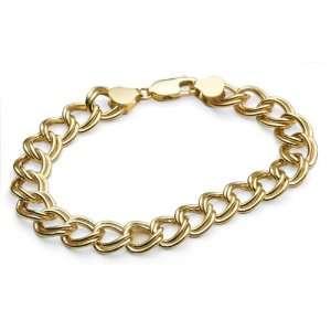 14k Yellow Gold 10mm Double Link Charm Bracelet, 7 Jewelry