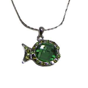 Rhodium Plated Tropical Fish Pendant with Green Austrian