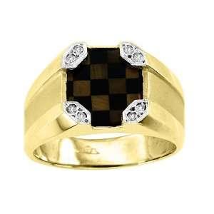 Mosaic Tigers Eye & Onyx Ring 14K Yellow Gold with Diamonds Jewelry