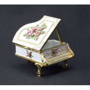CMC Trinket Box   Grand Piano, Floral Musical Instruments