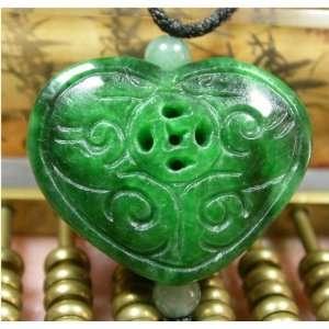 RUYI HEART DRAGON BAT CHINESE Green JADE PENDANT: Everything Else