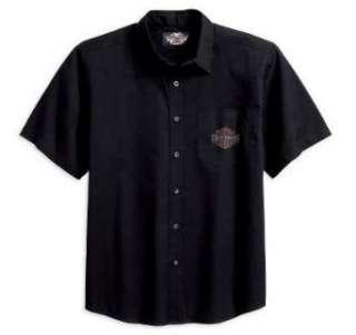 Harley Davidson® Mens Short Sleeve Woven Shirt with Winged Bar