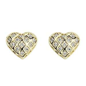 14K Yellow Gold Plated Heart CZ Stud Earrings with Screw