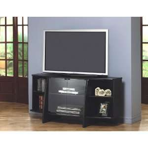 Black LCD/Plasma Flat Panel TV Stand with Glass Doors