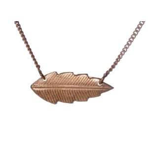 Rose Gold Plated Sterling Silver Leaf Pendant Necklace Jewelry