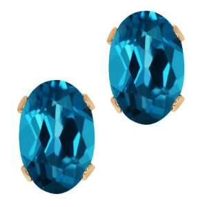 Shape London Blue Topaz Rose Gold Plated Silver Stud Earrings Jewelry