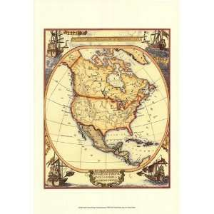 Small Nautical Map Of North America   Poster (13x19) Home