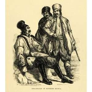 Russia Men Cultural Costume Dress Attire Hats   Original Engraving