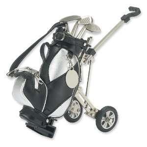 Black/Silver Fabric Golf Cart Pen Holder w/3 Pens Jewelry