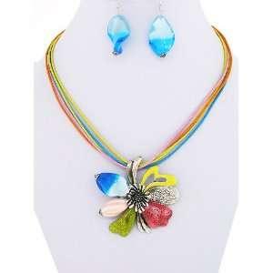com Fashion Jewelry ~ Metal Flower Multi Color Murano Glass Necklace
