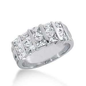 14k Gold Diamond Anniversary Wedding Ring 10 Princess Cut