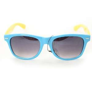 Wayfarer Fashion Sunglasses 200 Blue Front Yellow Sides Plastic Frame