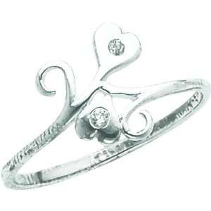 Sterling Silver Cubic Zirconia Heart Promise Ring Sz 6 Jewelry