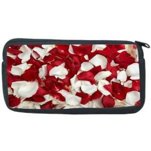 Red and White Rose Petals Neoprene Pencil Case