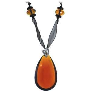 Handcrafted Amber Beauty Black Ribbon Pendant Necklace Jewelry