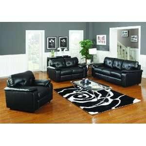 Pc Living Room Set Black Sofa, Loveseat, Chair