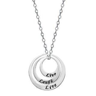 Sterling Silver Live Love Laugh Circle Pendant, 18 Jewelry