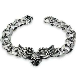 Steel Winged Skull Chain Link Bracelet High Polished Jewelry