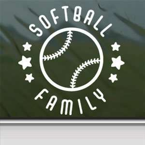 Softball Family White Sticker Car Laptop Vinyl Window