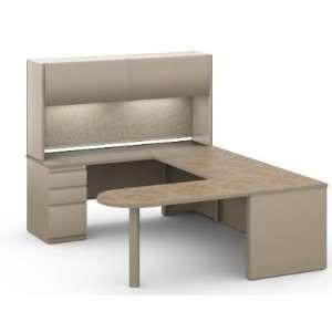 Steel U Shape Office Desk Workstation with Closd Overhead