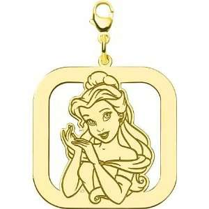 Sterling Silver Disney Princess Belle Square Lobster Clasp Charm