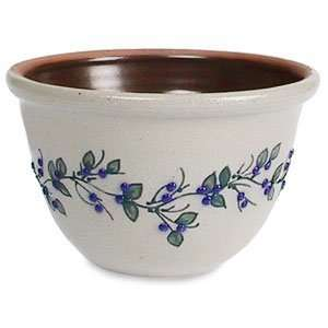 Salmon Falls Stoneware Berry Vine Blue/Green Mixing Bowl 1.5 Qt