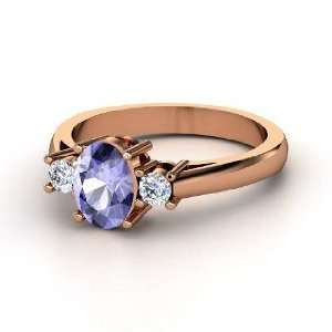 Ashley Ring, Oval Tanzanite 14K Rose Gold Ring with